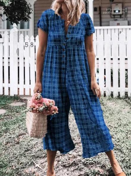 Summer Loose Casual Wearing Fashion Female Rompers Button Full Length Apparel Plaid Printed Jumpsuits For Women