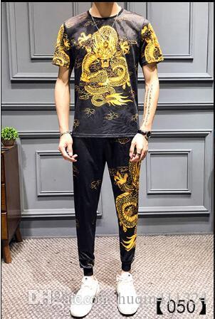 2020 yeni yaz büyük beden Milli Stil Erkek tasarımcı kısa kollu tişört erkek takım elbise Çin tarzı ejderha baskı kaliteli M-7XL