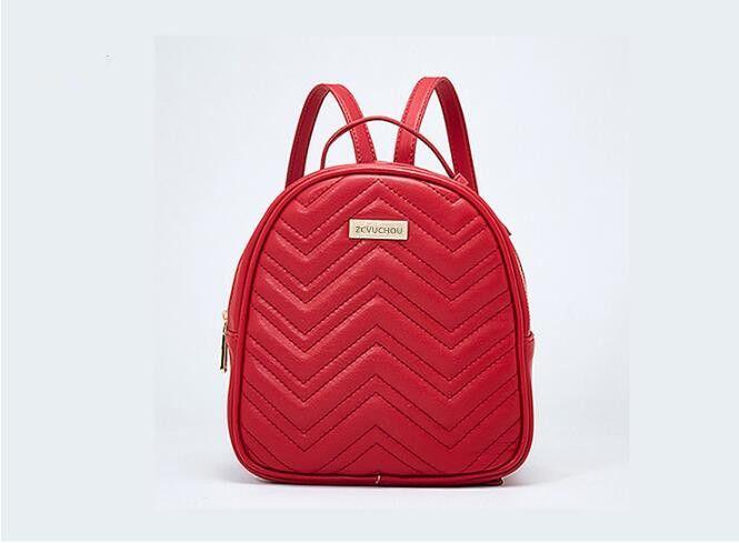 حقيبة ظهر عادية لسيدة كتف مزدوجة اللون الأسود / الأحمر / الأبيض 9998
