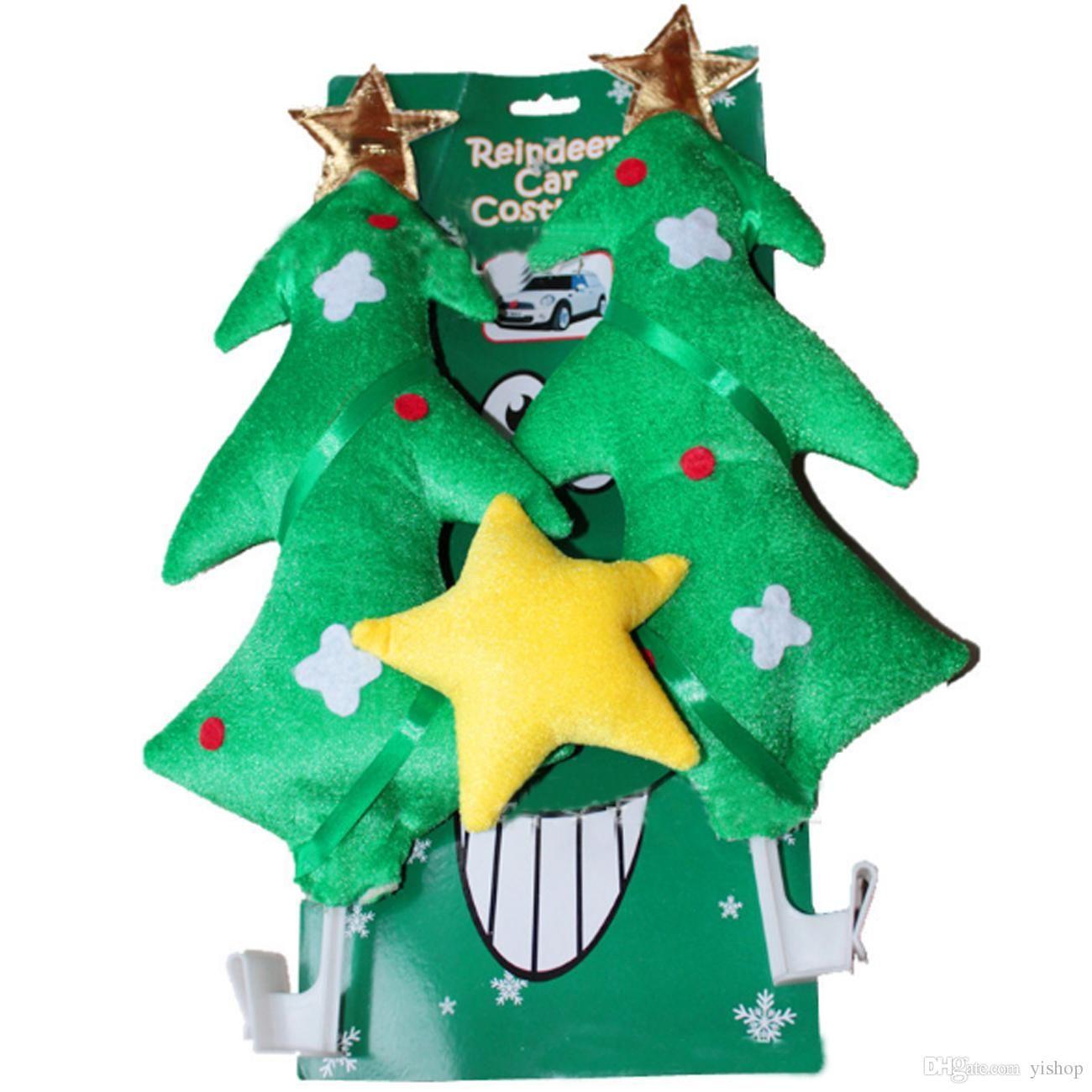 New Green Christmas Tree Car Costume Tree & Star Christmas Fun Rudolph Reindeer Ears For All Vehicls Car Decoration Xmas Gift Cheap Christmas