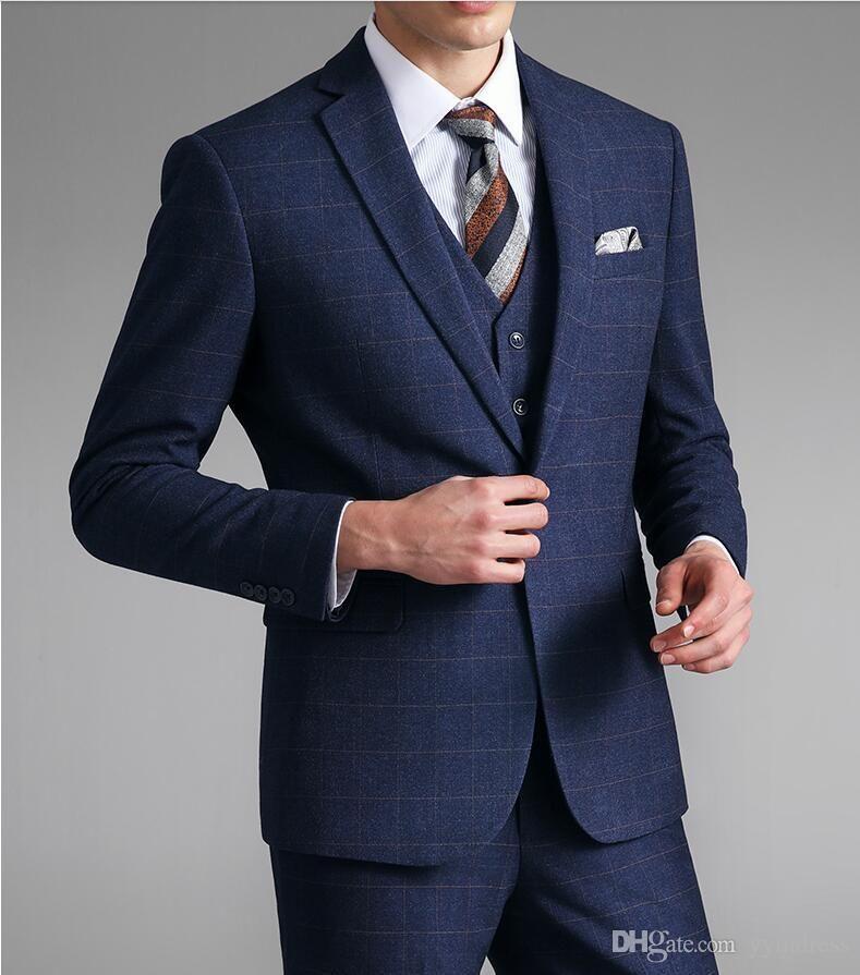 Yün Damat Giyim Groomsmen Suit 2019 Erkek İş Ceket + Pantolon + Vest Erkekler Suit Wedding Suit Damat Ebelz Örgün Suit Şeritleri