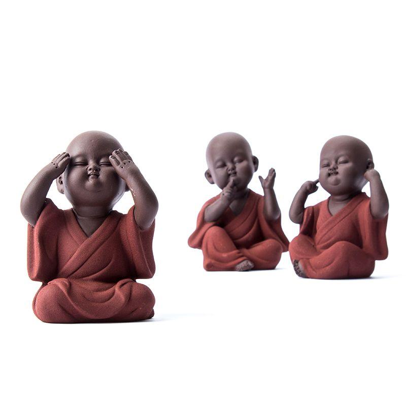 Hecho a mano de Buda animal doméstico del té del zisha Buda Monk accesorios del té kung fu juego de té