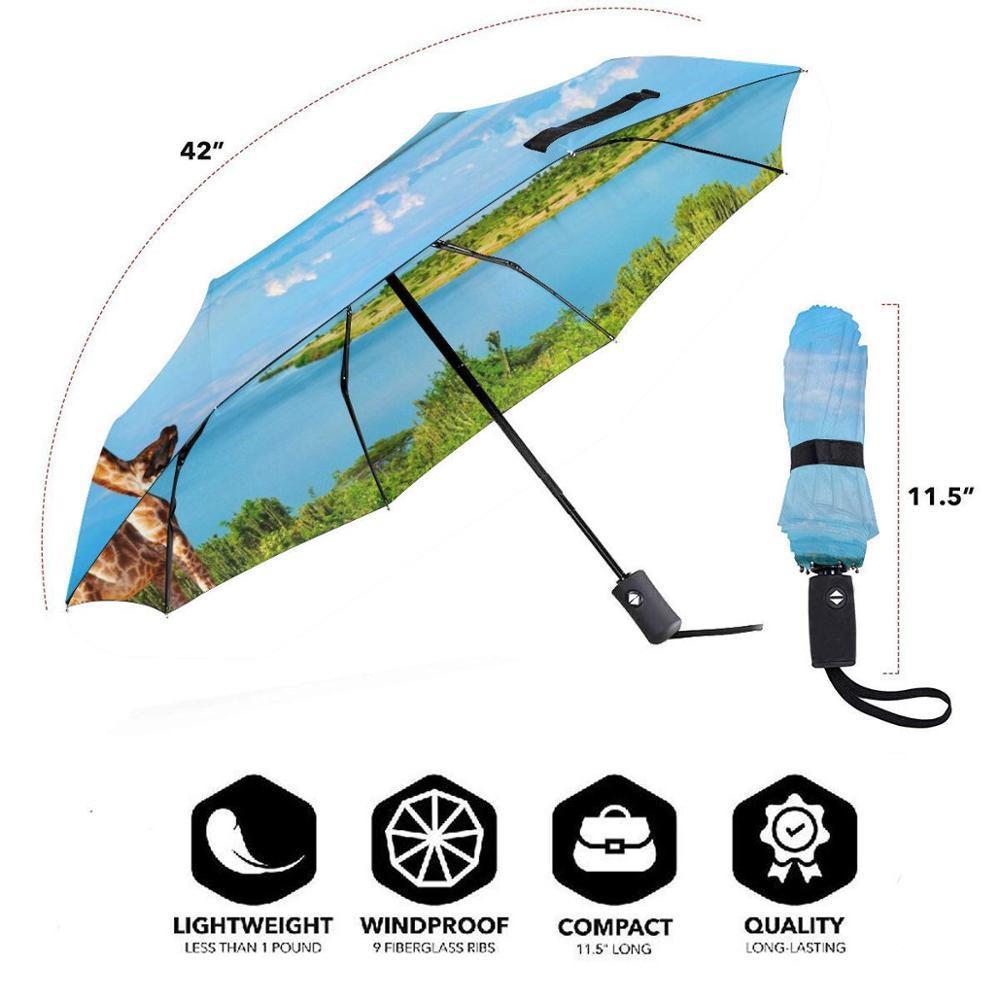 Giraffe creative men's and women's automatic three fold umbrella rainy day colorful fashion umbrella