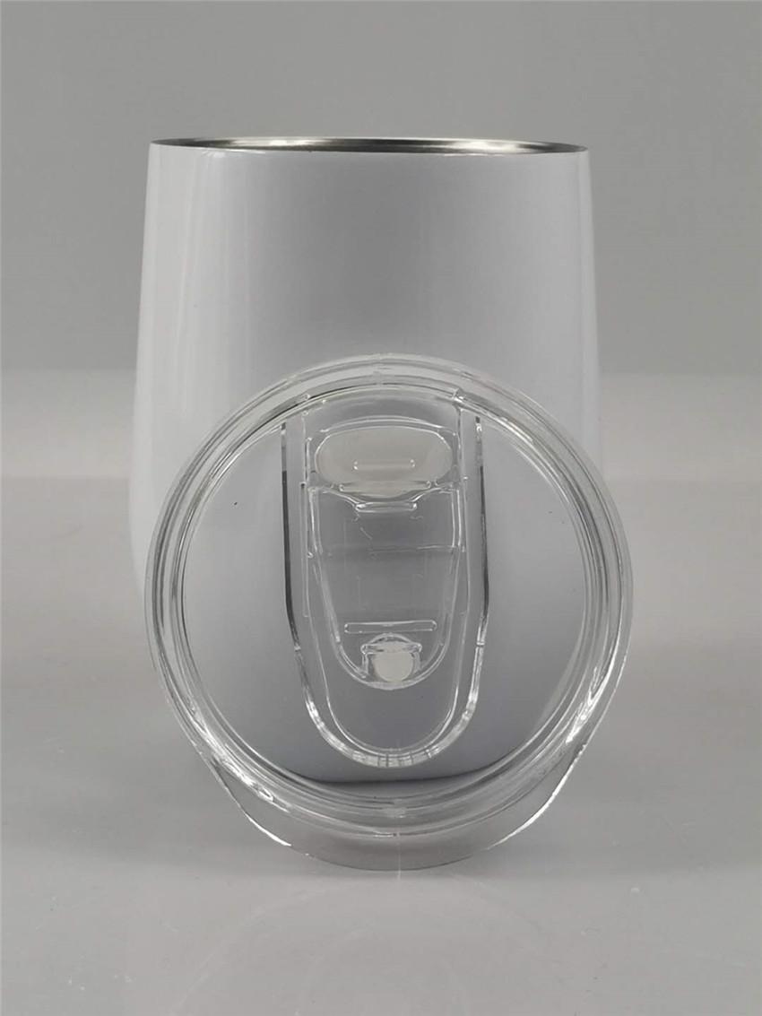 كأس البيض التسامي النبيذ كؤوس فراغ كأس 12OZ البيض على شكل مزدوج الجدران الفولاذ المقاوم للصدأ البن القدح النقل الحراري تخصيص مع غطاء A05
