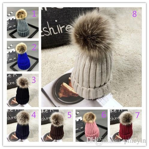15 colors hats Autumn and winter women imitation prickly heat fox fur ball parent-child wool cap thickening warmth hedge knit hat
