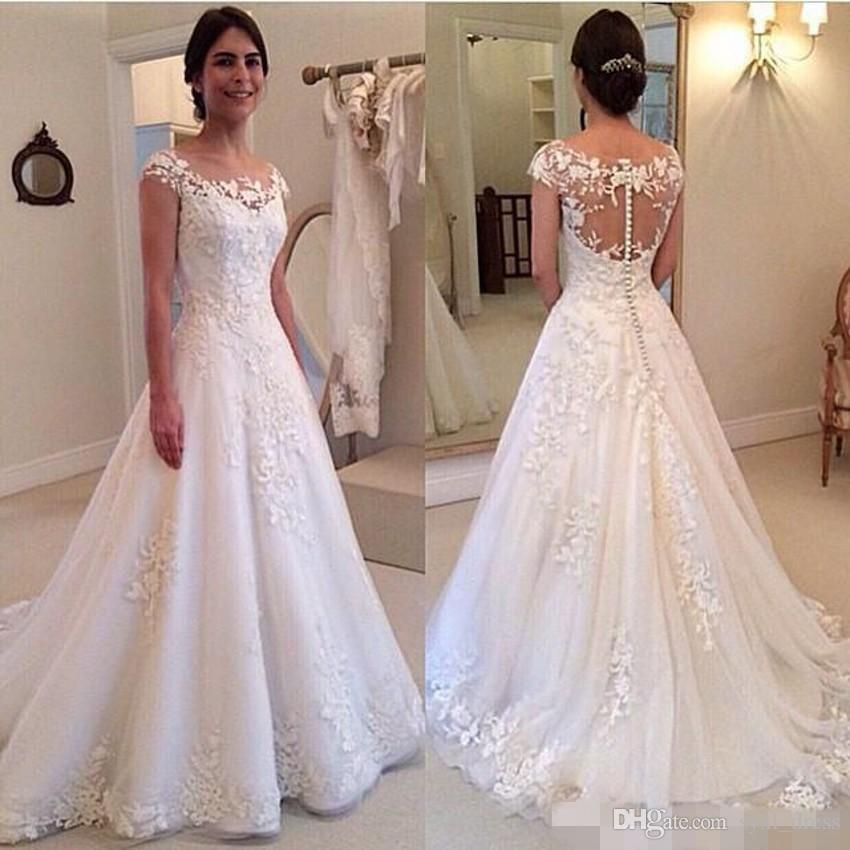 Son Zarif Scoop Boyun Tül Bohemian Gelinlik Gelinlikler 2019 vestido de novia boho gelinlik robe de mariée Düğme Geri