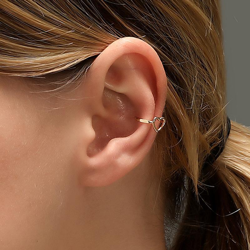 Earrings Clip on Ear Earring Heart Women Jewelry Ladies Pendant Fashion Unisex European Gold Color Trendy Zinc Alloy Brincos
