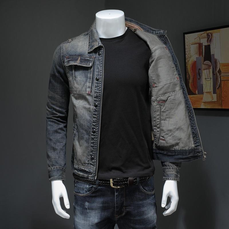 2020 nuovi uomini del denim del cappotto vintage cowboy Slim top a manica lunga chiusura lampo casuale del rivestimento più il formato 4XL marca Classic Jean Outwear maschile