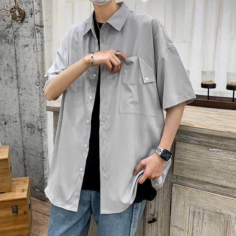 2020 лето новая молодежная популярная мужская сплошной цвет свободные большой размер базовая рубашка с короткими рукавами мода повседневная рубашка M-3XL