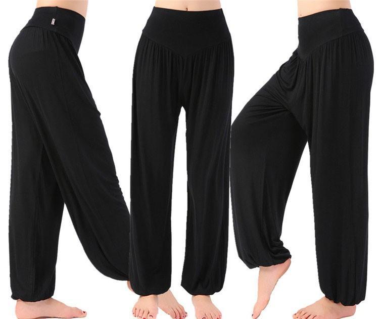 Modal Yüksek Bel kadın Spor Yoga Pantolon Geniş Bacak Gevşek Uzun Bloomers Pantolon Oryantal Dans Bloomers Pantolon Dans Kulübü