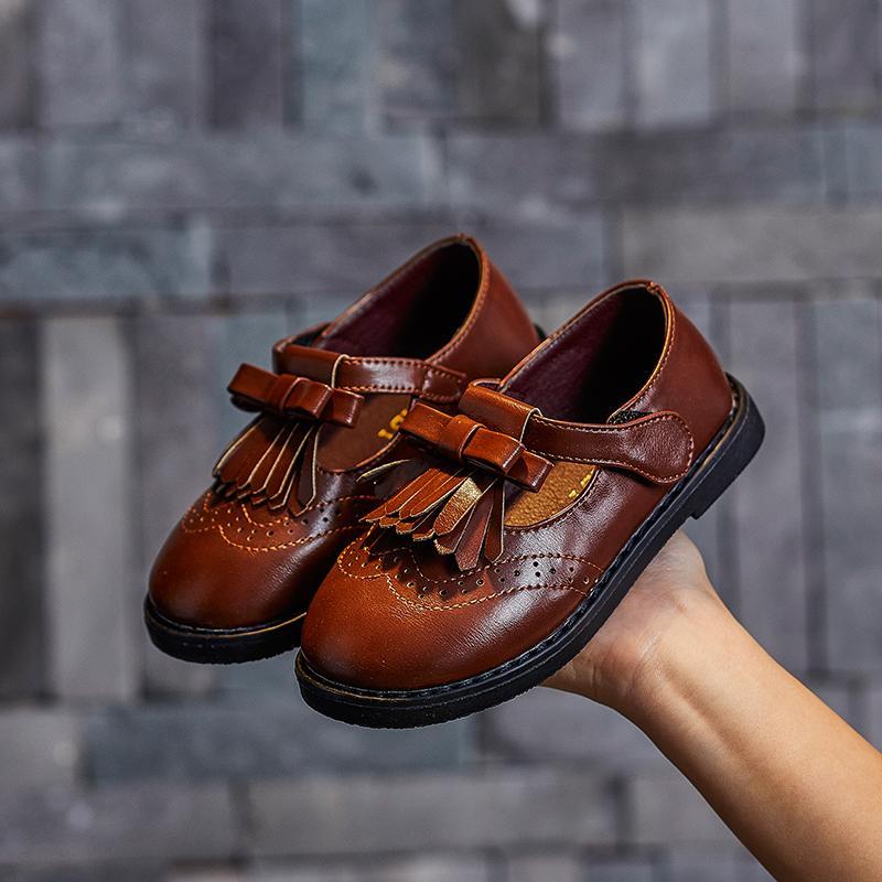 Otoño del resorte Niñas Niños zapatos planos de los zapatos de cuero de piel niños Negro Individual Infantil Venta de Estudiantes para el partido