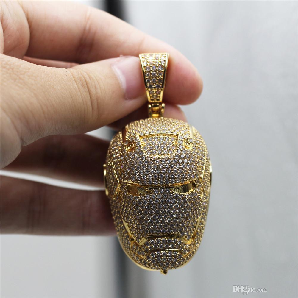 Hip Hop Glacé Iron Man Pendentif Collier Micro Pavée Lab plaqué Diamant Or Argent Hommes Bijoux Cadeau