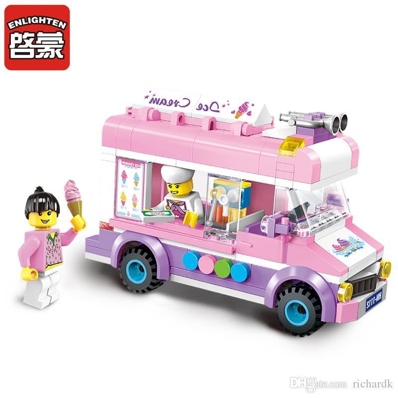 Enlighten 1112 Blokları Mobil Dondurma Kamyon Yapı Taşları 213 + ADET DIY Tuğla BoysKız Oyuncaklar Çocuklar Için