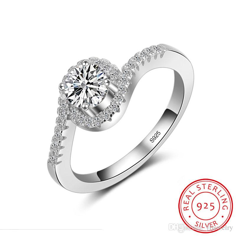 Fashion Female Wedding Ring 100% Solid 925 Sterling Silver Jewelry 1 Carat Round CZ Engagement Rings for Women Gift Wholesale XR044