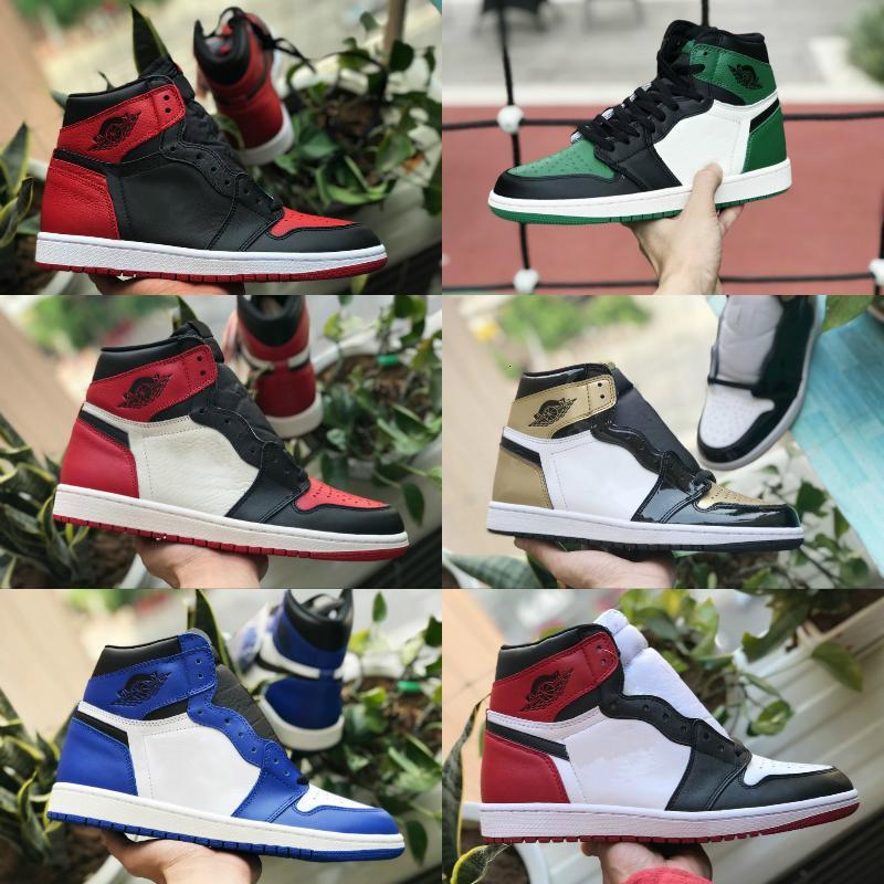 Vendre 2019 New High OG Mid Hommes 1 Chaussures de basket-Royal Game Banned Ombre Bred Rouge Bleu Blanc Toe Chaussures pas cher pour femme Chaussures de sport Chicago