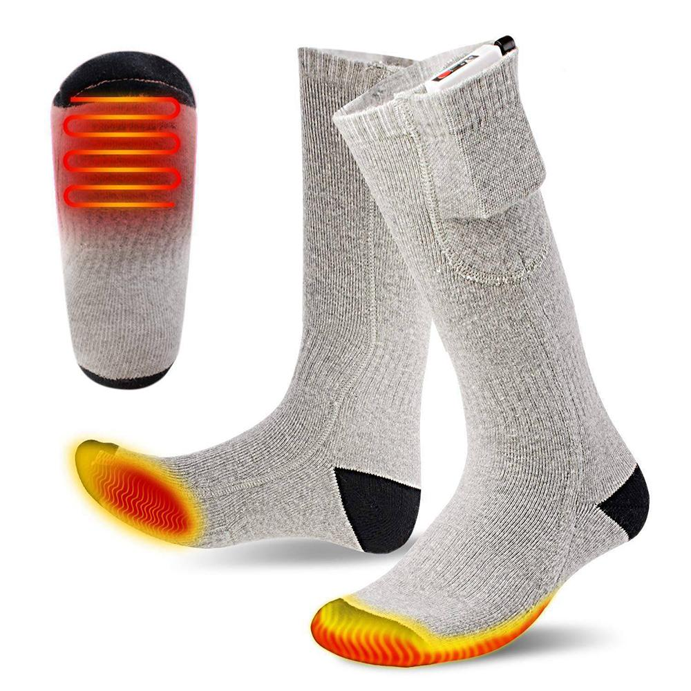 1 Pair Outdoor Heated Socks Warm Feet Foot Sports Skiing Electric Warming Thermal Socks Winter Hunting Breathable Heated Socks