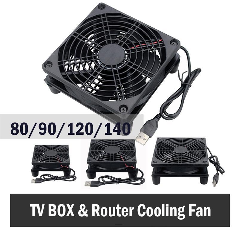 Вентиляторы охлаждения Gdstime 5V USB Router Вентилятор TV Box Cooler 80 92 120мм 140мм PC DIY Cooler W / Винты Защитная сетка немого