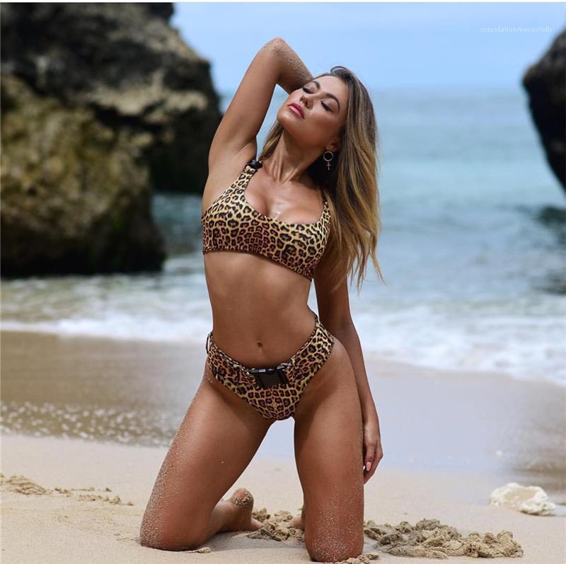 Traje playa de las mujeres de Tankinis 2 piezas de señora atractiva de baño Bikini espalda abierta del bañador del grano del leopardo