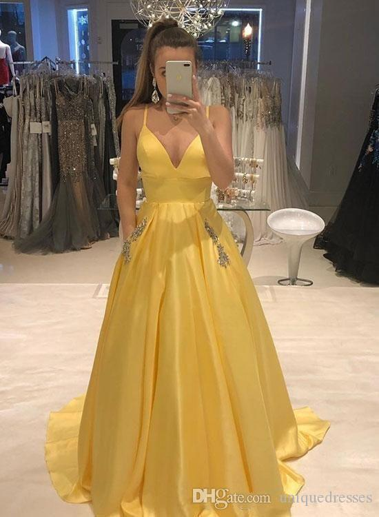 Yellow Evening Dress Spaghetti Straps Formal Prom Gowns Pockets Satin Crystal Beading Cheap Party Pageant Dresses