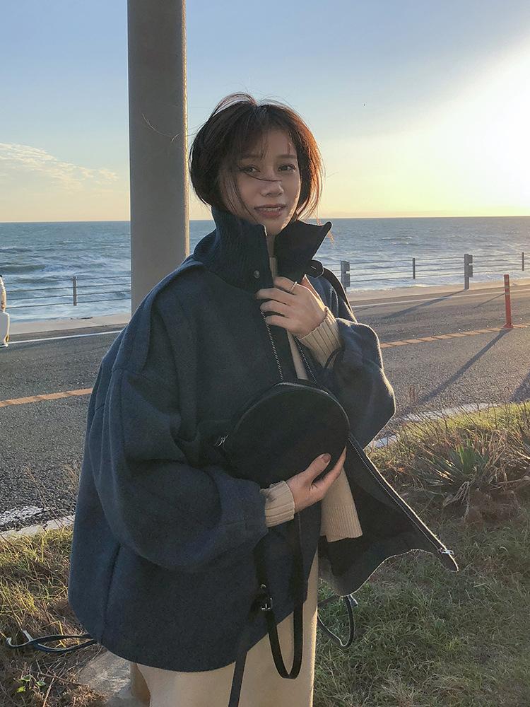 Casual Solid Короткие полушерстяные женские пальто рыхлой ZippeR Женская куртка отложной воротник корейских женщин моды пальто SH190928
