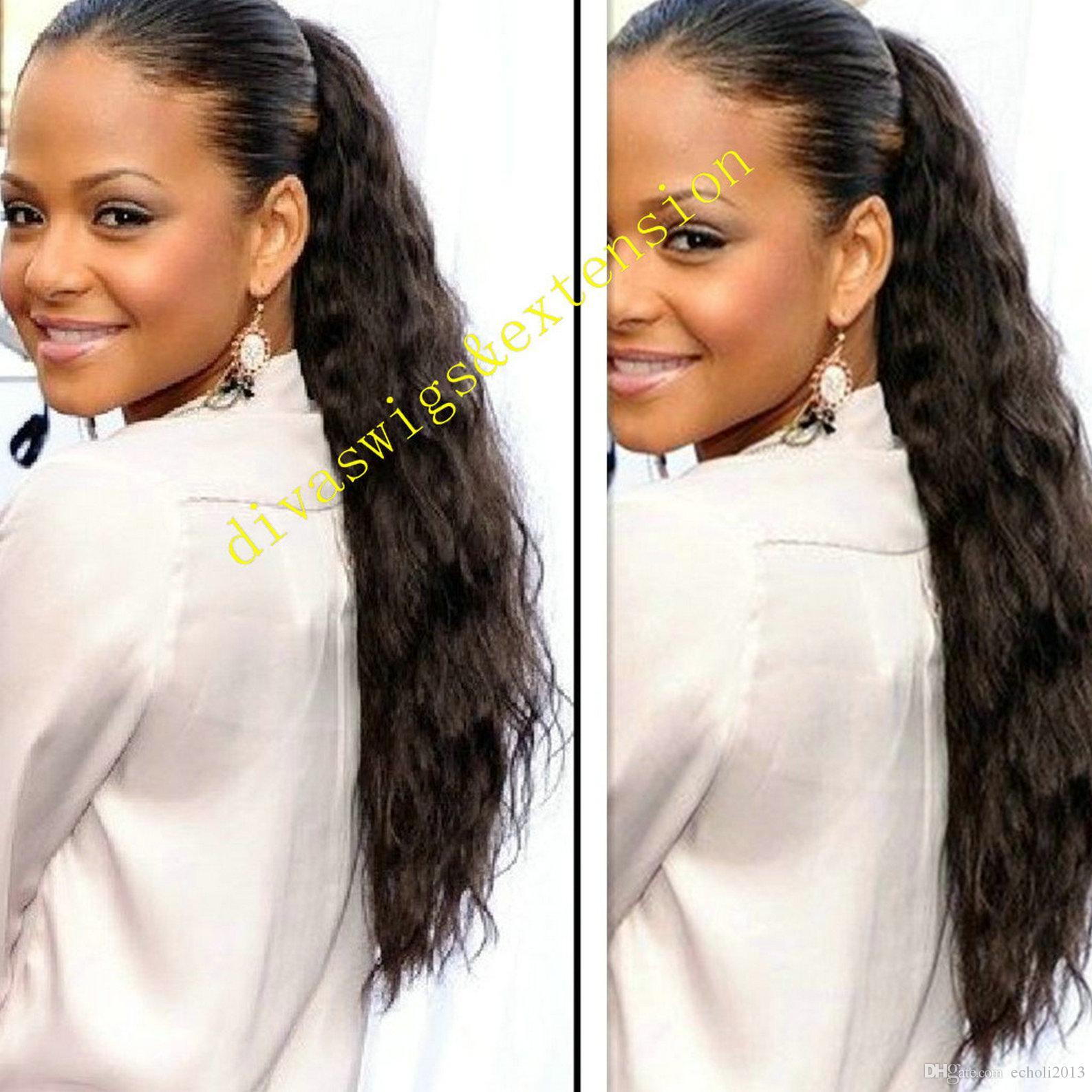Péruvien 1pcs crépus Curly Cheveux Cordon Ponytail 100% huamn Cheveux lâche clip de la vague Extension nature couleur cheveux remy pour les femmes 100g-160g