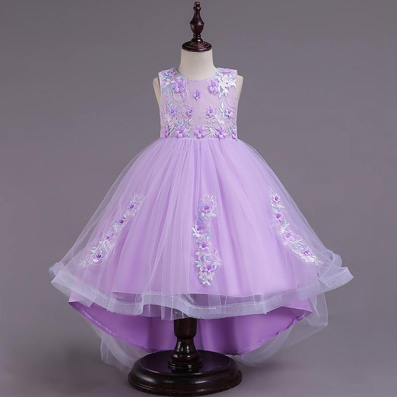 Compre Niñas Elegantes Vestido De Novia Vestido De Princesa Para 3 12 Años Niñas Sin Respaldo De Malla Falda Vestido De Encaje Ropa A 2723 Del