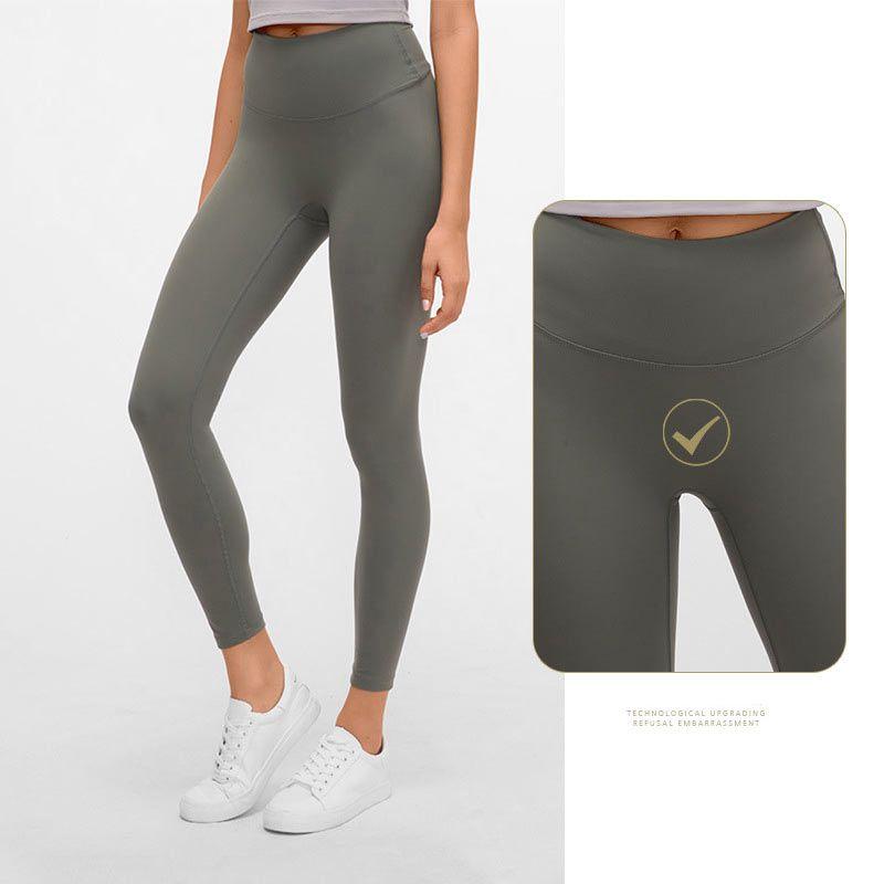 L-26 نساء بنات اليوغا سروال اللباس الداخلي سروال تشغيل للياقة البدنية الجوارب الصلبة اللون سيدة عالية الخصر الرياضة بنطلون