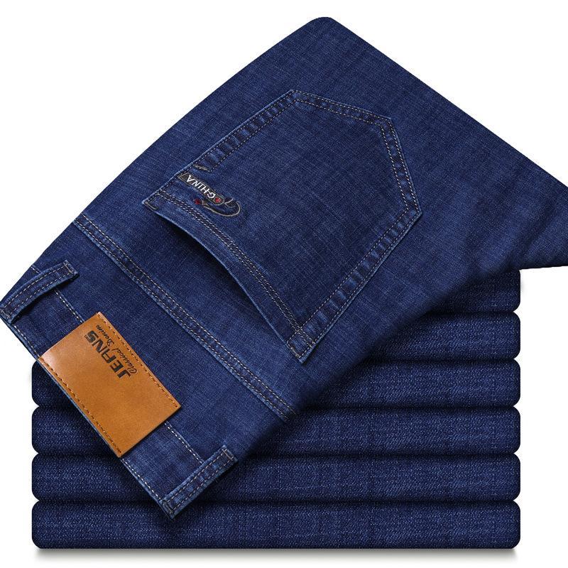 Мужчины Прямые Прямые Бизнес Повседневный джинсы весна лето мужские Trouses Джинсовые брюки легкие Эластичные Blue Jeans