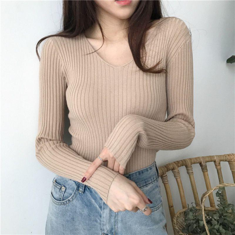 Корейский осень V шеи свитер Вязаная Мода свитера 2019 Тонкий Tight зимы Топы для женщин вскользь Пуловер Jumper