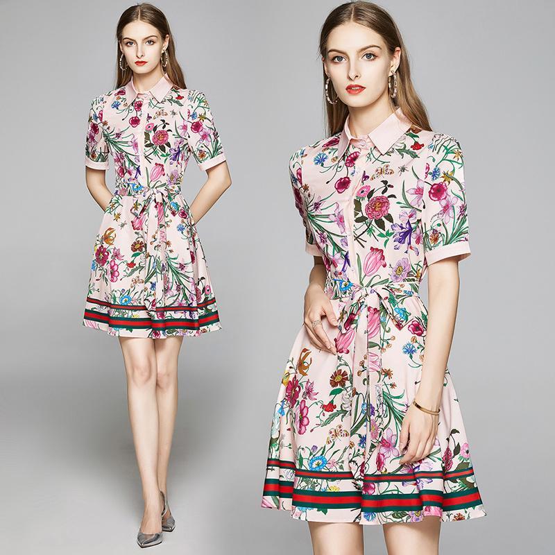 Летняя взлетно-посадочная полоса Элегантная мода Флористическая печать женщины рубашка платье с коротким рукавом дамы сексуальные офисные повседневные поясы лук a-line мини дизайнерские платья