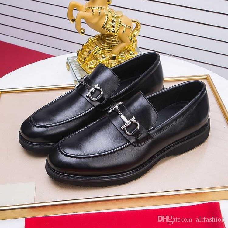 Brand Design d'affaires formel Costume Hommes cuir de vache robe de mocassins de chaussures de mariage chaussure de mode haut bas Boucle Horsebit Mocassins richelieu, 38-45