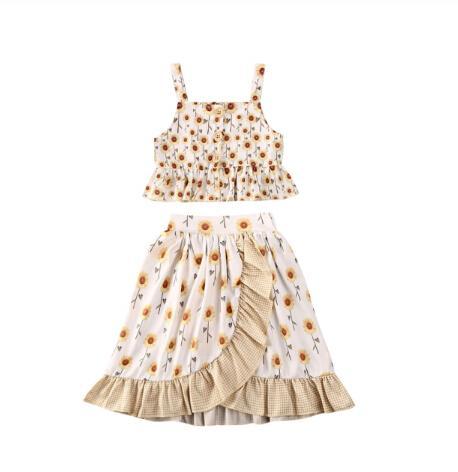 2020 Bebek Bebek Kız Giyim 1-6Y Ruffles Çiçekler Kolsuz + Ayak bileği uzunluğu Etekler Parti Kıyafetleri Tops yazdır ayarlar