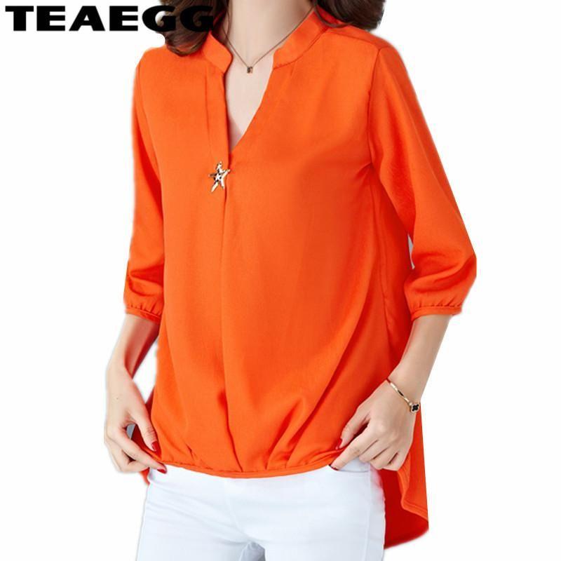 TEAEGG أورانج بلوزة من الشيفون قمصان 2018 قمصان كم طويل لربيع وصيف النسائية والملابس الداخلية بالاضافة الى حجم Laides أعلى AL961