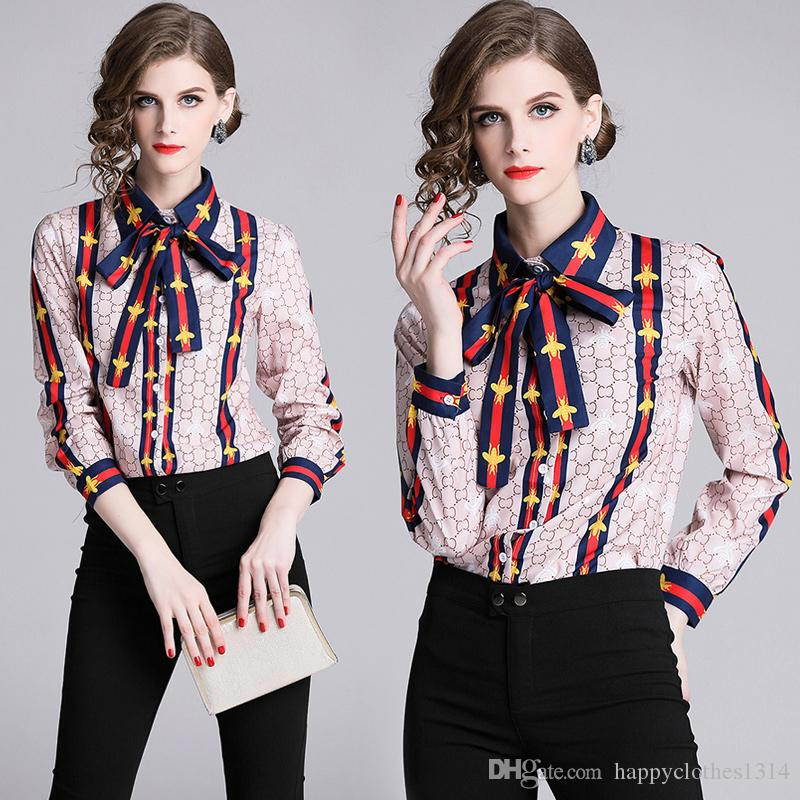 New Women's Floral Printed Shirt With Neck Bow Plus Size Elegant Long Sleeve Ladies Button Blouses Runway Office Designer Shirts Tops