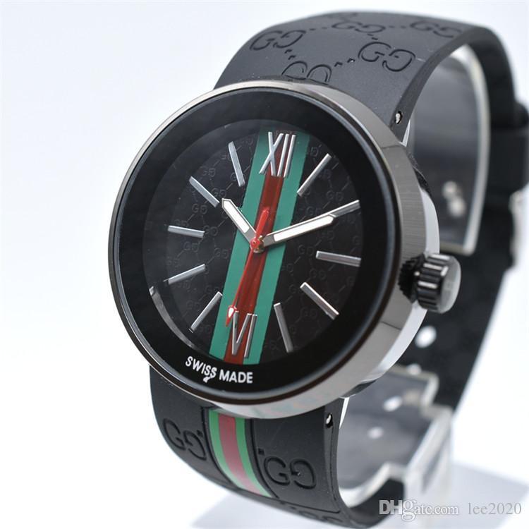 2020 Qualitätsmänner Uhr Italienische Mode-Marken-Entwerfer-Männer Silikon-Bügel-Quarz-Uhr-Luxus-Sportuhr
