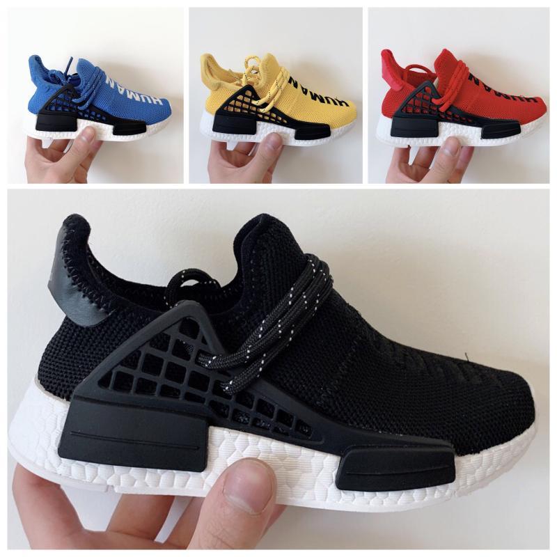 Adidas PW HU Holi NMD MC Высокое качество человеческого гонки Вязание Дети Спортивные Hu Обувь Детские гонки Оригинальный человека Идущие размер Sneaker 26-35