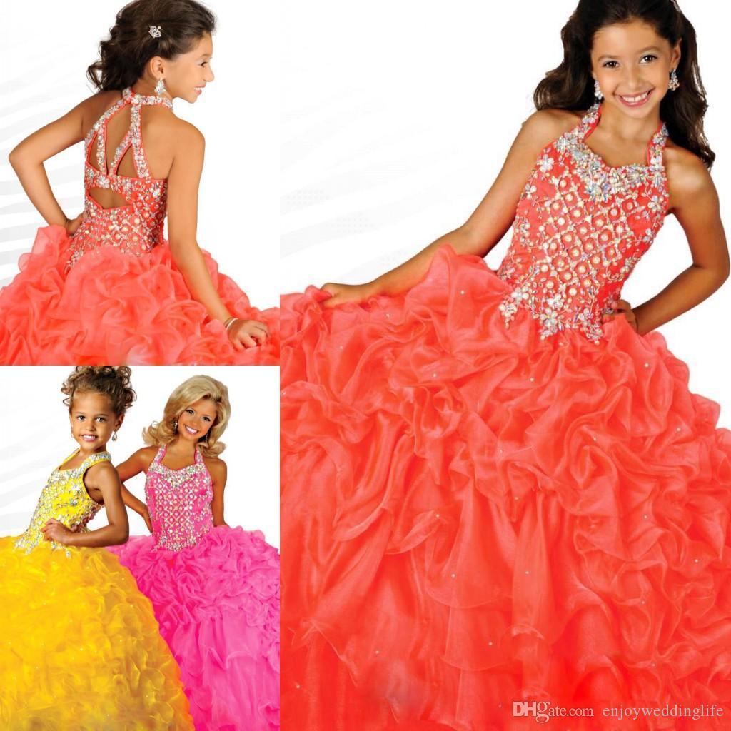 Organza vestidos concurso venda quente vestido de baile Glitz meninas organza tubulação sem encosto rosa amarela comprimento total vestidos da menina de flor RG6687