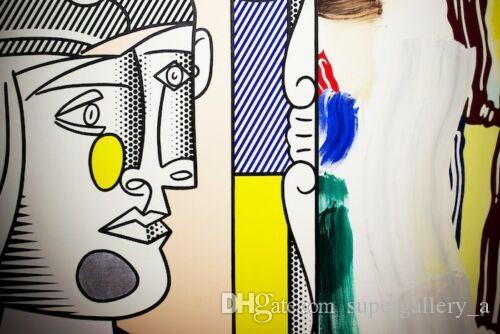 Roy Lichtenstein Pintura al óleo sobre lienzo Arte pintado a mano Decoración del hogar Arte de la pared Imagen Arte pop Cabeza de Picasso