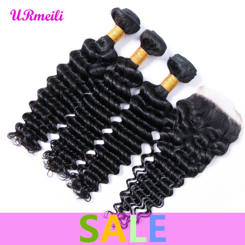 Brazilian Deep Wave human hair bundles with closure raw Brazilian Virgin Hair Bundles with Closures dhgate deep wave 3 bundles with closure