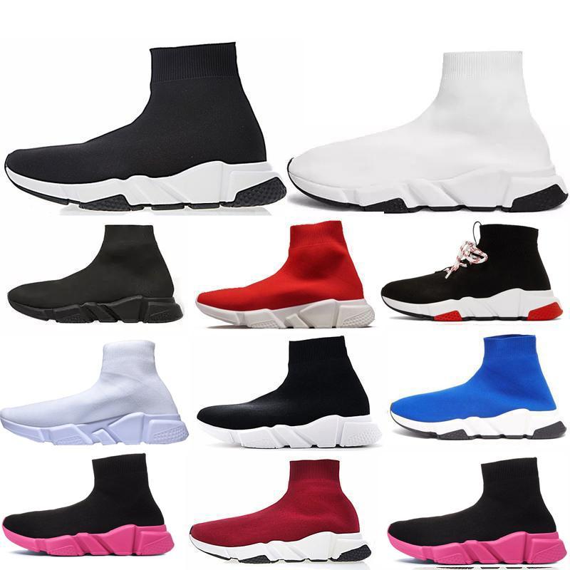 حار بيع النساء الرجال سوك سرعة مدرب حذاء حذاء رياضة الحياكة الانزلاق على جودة عالية عارضة حذاء المشي الراحة في جميع الأسود Chaussures