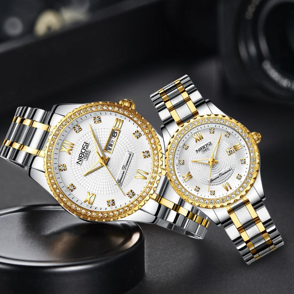 NIBOSI assistir Casal Mens Relógios Top Marca de luxo Quartz Assista Mulheres relógio de pulso Ladies Vestido Moda Casual Assistir Amantes