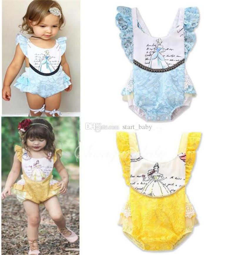 Bebek dantel romper Toddler prenses Baskılı Tulumlar 2018 yeni yaz çocuklar Fırfır Tırmanma giysileri B11