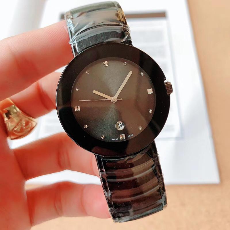 Klasik newluxury marka erkek kuvars hareketi basit safir ayna otomatik takvim paslanmaz çelik saat