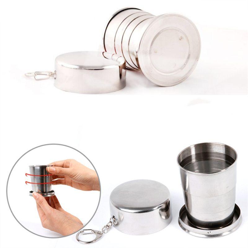 Paslanmaz çelik katlanabilir seyahat fincan 230/140/75 ml katlanır bardak taşınabilir şarap bira su şişesi kahve kupa ile anahtarlık