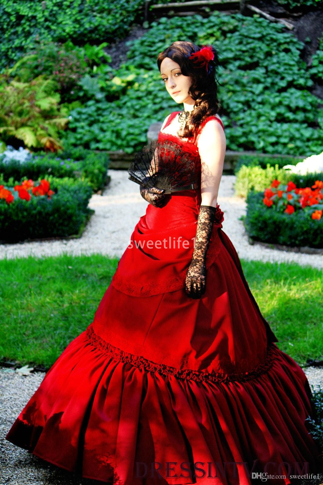 2020 Blood Red Medieval Spaghetti Evening Dresses Satin Ruffles A Line Vintage Formal Evening Occasion Prom Party Dresses Custom Made