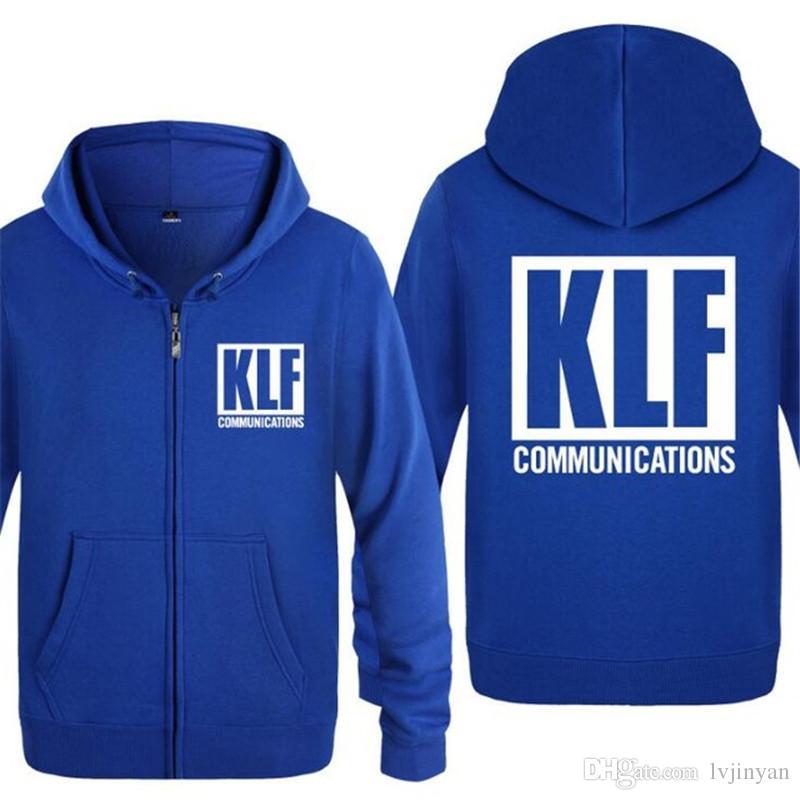 Hoodie dos homens engraçado The KLF Communications Hoodies Homens Hip Hop velo manga comprida Zipper Jacket Brasão camisola Skate Treino