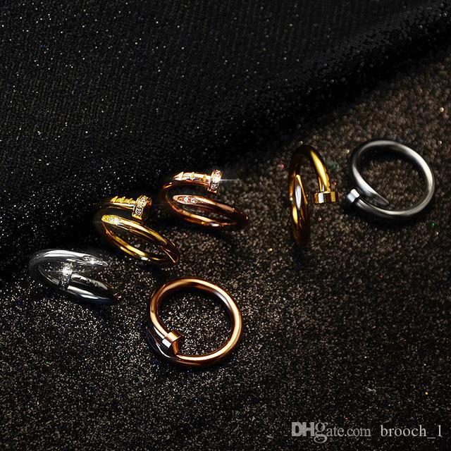 다이아몬드와 Size6-9 스테인레스 스틸 골드 네일 링은 최고 품질 실버 상자 밴드 반지 여성과 남성 커플 링 골드 애호가 장미