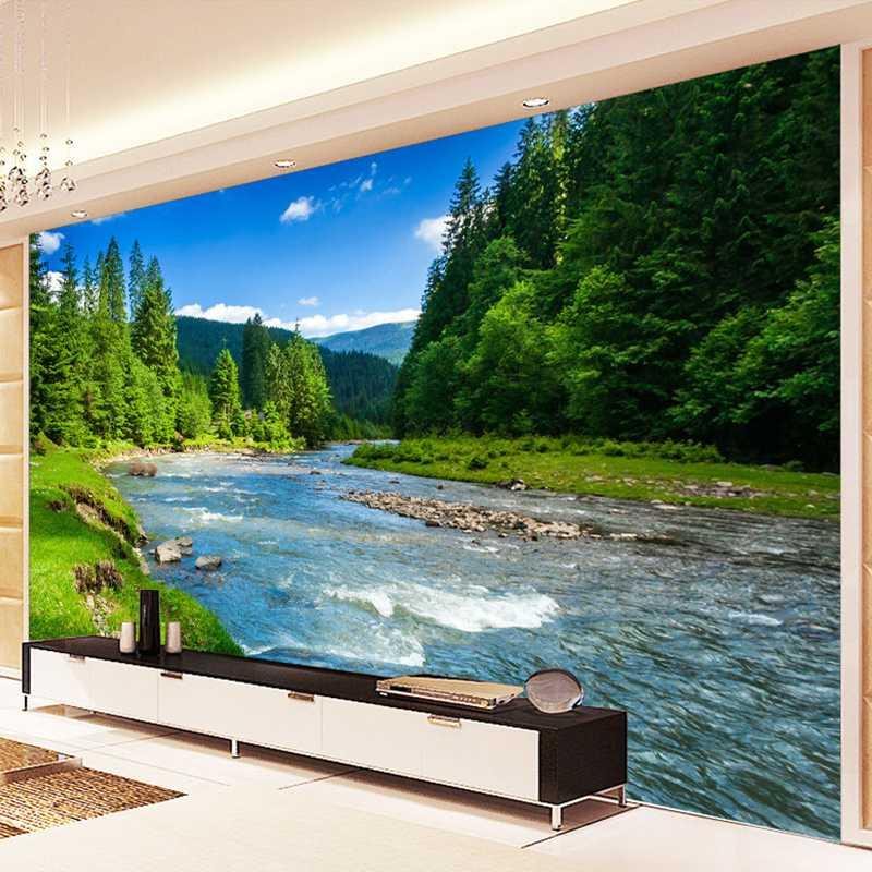 Antecedentes sin juntas de encargo de la foto 3D del papel pintado paisaje de la naturaleza Fondos de pantalla para sala de estar dormitorio pinturas de pared de la decoración mural