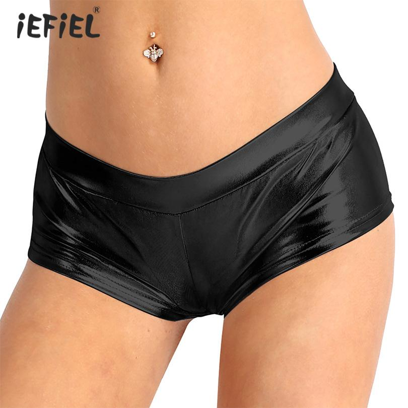 iEFiEL Womens Shiny Rave Shorts Exotic Boxer Sexy Panties Faux Leather Low Waist Skinny Shorts Pole Dance Short Costume Clubwear