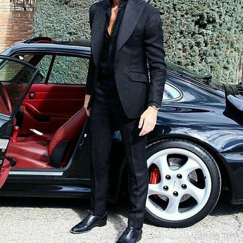 Son Geniş Tepe Damat Smokin Erkekler Düğün için Suits Adam Öğe Siyah Blazer trajes de adam Kostüm Homme 2 Adet Slim Fit Terno Masculino